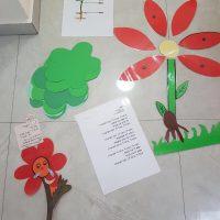 הכנה של הסטודנטיות לשבוע עבודה מעשי במעון גן ילדים בירושלים. פעילות בנושא פרחים בעקבות הספר מר סביון וגברת רקפת