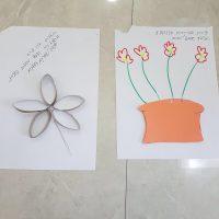 הכנה של הסטודנטיות לשבוע עבודה מעשי במעון גן ילדים בירושלים. פעילות יצירה בנושא פרחים בעקבות הספר מר סביון וגברת רקפת