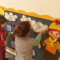 מתאימים לילד בגדים לפי ההוראות של העננים בסיפור